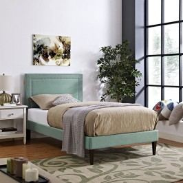 Jessamine  Twin Fabric Platform Bed with Squared Tapered Legs in Laguna