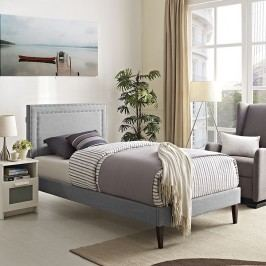 Jessamine  Twin Fabric Platform Bed with Squared Tapered Legs in Light Gray