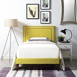 Jessamine  Twin Fabric Platform Bed with Squared Tapered Legs in Sunny
