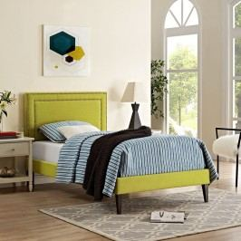 Jessamine  Twin Fabric Platform Bed with Squared Tapered Legs in Wheatgrass