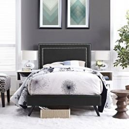 Jessamine  Twin Vinyl Platform Bed with Round Splayed Legs in Black