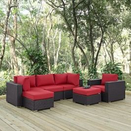 Convene 6 Piece Outdoor Patio Sectional Set in Espresso Red
