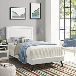 Jessamine  Twin Vinyl Platform Bed with Round Splayed Legs in White