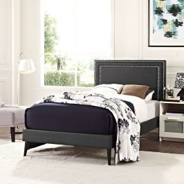 Jessamine  Twin Vinyl Platform Bed with Round Tapered Legs in Black
