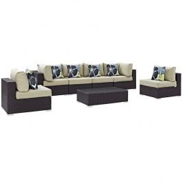 Convene 7 Piece Outdoor Patio Sectional Set in Espresso Beige