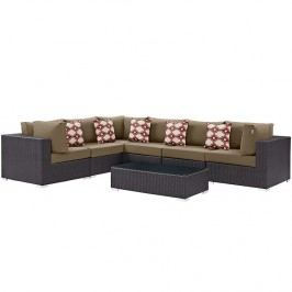 Convene 7 Piece Outdoor Patio Sectional Set in Espresso Mocha