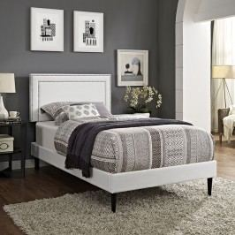 Jessamine  Twin Vinyl Platform Bed with Round Tapered Legs in White