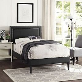 Jessamine  Twin Vinyl Platform Bed with Squared Tapered Legs in Black
