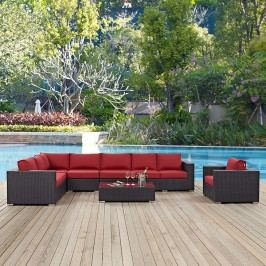 Convene 7 Piece Outdoor Patio Sectional Set in Espresso Red
