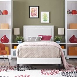 Jessamine  Twin Vinyl Platform Bed with Squared Tapered Legs in White