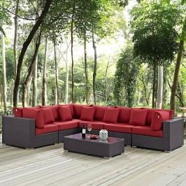 Convene 7 Piece Outdoor Patio Sectional Set in Expresso Red