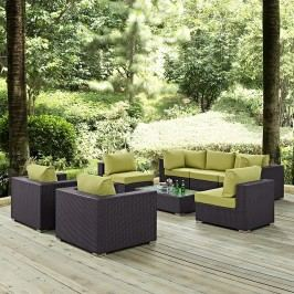 Convene 8 Piece Outdoor Patio Sectional Set in Espresso