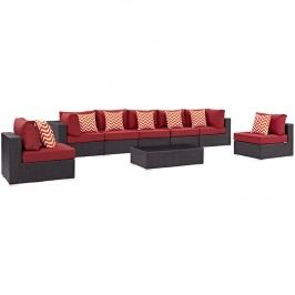 Convene 8 Piece Outdoor Patio Sectional Set in Espresso Red