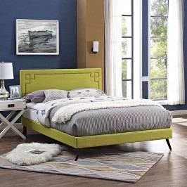 Josie Full Fabric Platform Bed with Round Splayed Legs in Wheatgrass