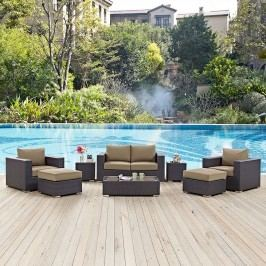 Convene 8 Piece Outdoor Patio Sofa Set in Espresso Mocha