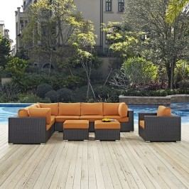 Convene 9 Piece Outdoor Patio Sectional Set in Espresso Orange