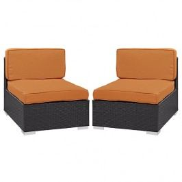 Gather Armless Chair Outdoor Patio Set of Two in Espresso Orange