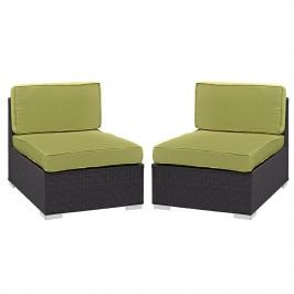 Gather Armless Chair Outdoor Patio Set of Two in Espresso Peridot