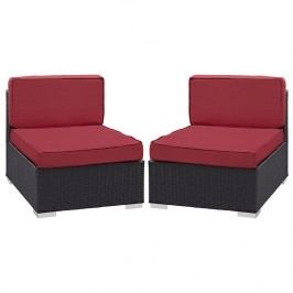 Gather Armless Chair Outdoor Patio Set of Two in Espresso Red