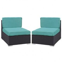 Gather Armless Chair Outdoor Patio Set of Two in Espresso Turquoise