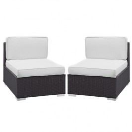 Gather Armless Chair Outdoor Patio Set of Two in Espresso White