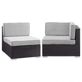 Gather Corner and Middle Outdoor Patio Sectional Set in Espresso Gray