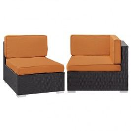 Gather Corner and Middle Outdoor Patio Sectional Set in Espresso Orange