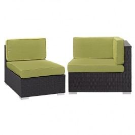 Gather Corner and Middle Outdoor Patio Sectional Set in Espresso Peridot