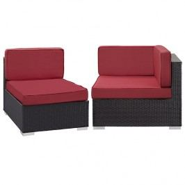 Gather Corner and Middle Outdoor Patio Sectional Set in Espresso Red