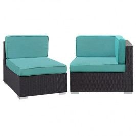 Gather Corner and Middle Outdoor Patio Sectional Set in Espresso Turquoise