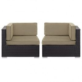 Gather Corner Sectional Outdoor Patio Set of Two in Espresso Mocha