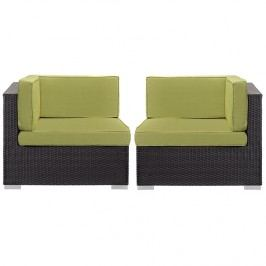 Gather Corner Sectional Outdoor Patio Set of Two in Espresso Peridot