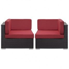 Gather Corner Sectional Outdoor Patio Set of Two in Espresso Red
