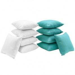 Gather Ten Piece Pillow Set in White Turquoise
