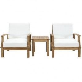 Marina 3 Piece Outdoor Patio Teak Sofa Set in Natural White