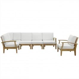 Marina 6 Piece Outdoor Patio Teak Sofa Set in Natural White