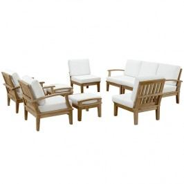Marina 9 Piece Outdoor Patio Teak Sofa Set in Natural White