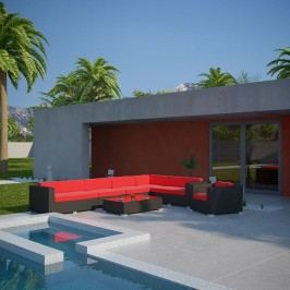 Palm 7 Piece Outdoor Patio Wicker Sectional Set in Espresso Red