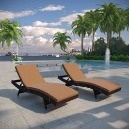 Peer Chaise Outdoor Patio Set of 2 in Brown Mocha