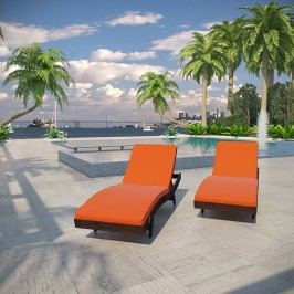 Peer Chaise Outdoor Patio Set of 2 in Brown Orange