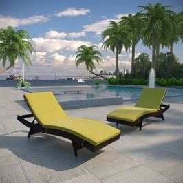 Peer Chaise Outdoor Patio Set of 2 in Brown Peridot