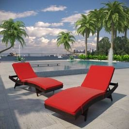 Peer Chaise Outdoor Patio Set of 2 in Brown Red