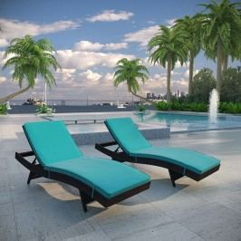 Peer Chaise Outdoor Patio Set of 2 in Brown Turquoise