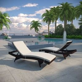 Peer Chaise Outdoor Patio Set of 2 in Brown White