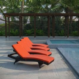 Peer Chaise Outdoor Patio Set of 4 in Brown Orange