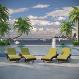 Peer Chaise Outdoor Patio Set of 4 in Brown Peridot