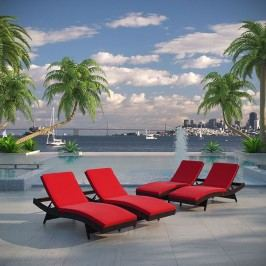Peer Chaise Outdoor Patio Set of 4 in Brown Red
