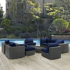 Sojourn 10 Piece Outdoor Patio Sunbrella?? Sectional Set in Canvas Navy
