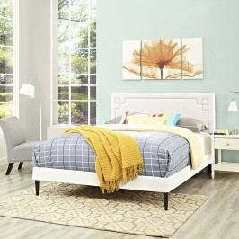 Josie Full Vinyl Platform Bed with Round Tapered Legs in White