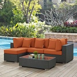 Sojourn 5 Piece Outdoor Patio Sunbrella?? Sectional Set in Canvas Tuscan
